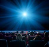 在戏院的观察者与蓝星 库存照片