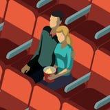 在戏院等量模板的爱恋的夫妇 向量例证