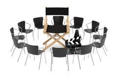 在戏院Chair主任,电影拍板和我附近的办公室椅子 免版税库存照片