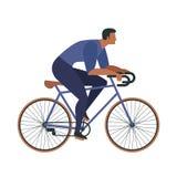 在成人年轻人和妇女骑马的酷的传染媒介字符设计骑自行车 自行车的时髦的男性和女性行家 免版税图库摄影