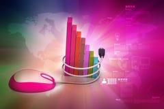 在成功的财政图表与老鼠 免版税库存图片