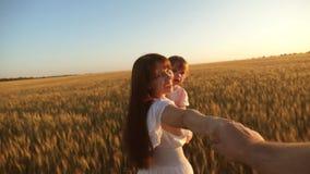 在我以后来 母亲和女儿笑旅行,握有爸爸的手 握手,在麦子的奔跑的幸福家庭 股票视频
