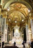 在我们的夫人della瓜迪亚寺庙里面教会的油漆  热那亚意大利 免版税库存图片