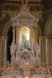 在我们的夫人della瓜迪亚寺庙里面教会的油漆  热那亚意大利 库存图片