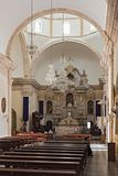 在我们的完美的构想的夫人里面,大教堂在坎比其,墨西哥 免版税库存图片