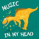 在我的头的文本音乐小孩衣服,织品、卡片和书设计的,漫画的 滑稽的黄色恐龙笑,da 向量例证