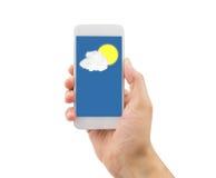 在我的智能手机的展望天气 图库摄影