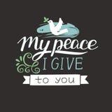 在我给您有鸽子的我的和平上写字的手 免版税库存照片