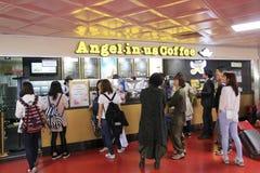 在我们的天使咖啡在济州国际机场 库存图片