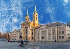 在我们的波兰的夫人Queen教会的华沙,波兰- 2016 1月03日,视图在华沙 免版税图库摄影