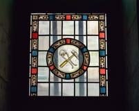 在我们的雍容教堂的夫人的大教堂窗口 免版税库存图片