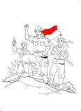 在战争中间的印度尼西亚士兵 库存例证