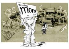 在战争儿童展示词缺掉妈妈以后 免版税图库摄影