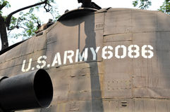 在战争残余博物馆暴露的美军直升机, Saigo 免版税库存照片