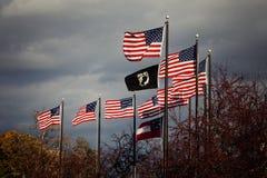 在战争纪念建筑,法兰克福公墓的旗子 免版税库存图片