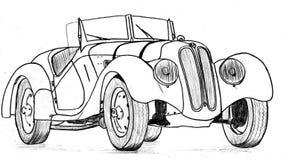 在战前sportscar的葡萄酒 免版税库存照片