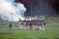 在战场的发烟 Borodino争斗历史再制定在俄罗斯 库存照片