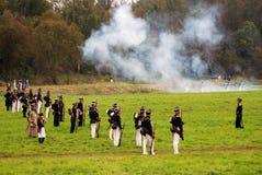 在战场的发烟 Borodino争斗历史再制定在俄罗斯 免版税库存图片