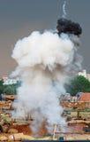 在战场的爆炸 免版税库存图片