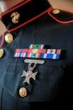 在战士制服的奖牌  免版税图库摄影
