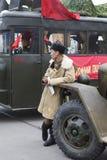 在战士苏联身分附近的陆军卡车 库存图片