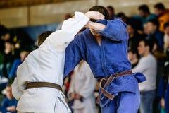 在战斗期间的Judokas战斗机 图库摄影