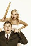 在战斗的婚礼夫妇,相冲突坏关系 图库摄影