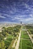 在战神广场和Invalides的鸟瞰图 免版税图库摄影