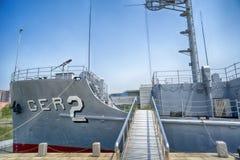 在战胜祖国解放战争时期博物馆的USS普埃夫洛AGER-2 平壤, DPRK -北朝鲜 免版税图库摄影