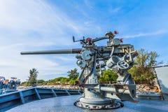 在战舰的一杆射击枪 免版税图库摄影