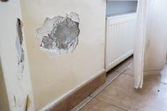 在户内墙壁上的损坏的膏药关闭  免版税库存图片