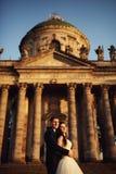 在户外婚礼礼服的美好的夫妇在城堡附近 库存图片