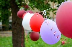 在户外生日聚会的紫色气球 免版税库存图片