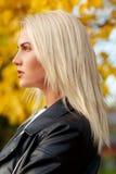 在户外美丽的白种人白肤金发的妇女档案的面孔  库存图片