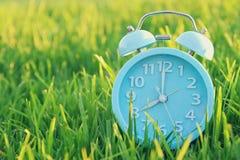 在户外绿草的减速火箭的闹钟在公园 免版税库存图片