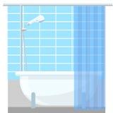 在房子传染媒介例证的卫生间内部海报或电视节目预告飞行物浴缸 免版税库存图片