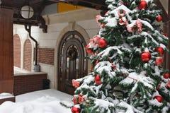 在房子前面装饰的圣诞树 库存照片