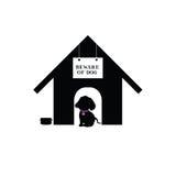 在房子剪影例证的狗 库存照片