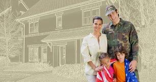在房子图画剪影前面的军事战士家庭 免版税库存图片