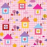 在房子孩子样式的逗人喜爱的小动物 免版税库存图片