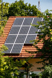 在房子屋顶登上的太阳能盘区 免版税库存照片