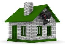 在房子的安全监控相机。 查出的3D 免版税库存照片