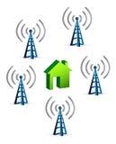 在房子连接数概念附近的天线 向量例证