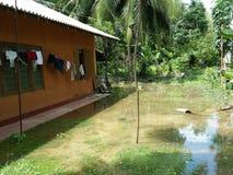 在房子附近的水灾地区 库存照片