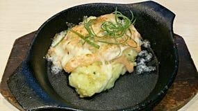 在扁平烤盘的日本三文鱼乳酪 库存图片