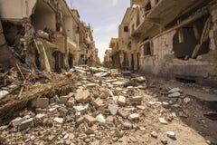 在扇叶树头榈附近的镇在叙利亚 免版税图库摄影