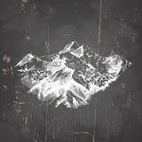 在手中导航山被画的剪影样式的例证 免版税库存照片