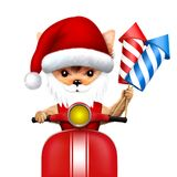 在手中尾随一辆滑行车的圣诞老人有火箭的 免版税库存图片