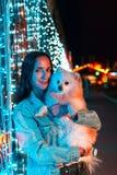 在手中摆在与狗的年轻俏丽的妇女,品种德国波美丝毛狗 在背景中是蓝色照明 假日的概念 图库摄影
