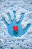 在手写印刷体上的心脏 库存图片